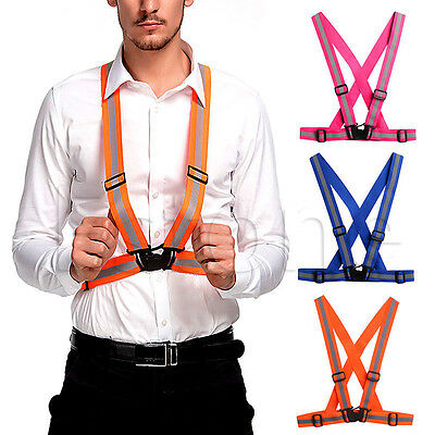 Adjustable Safety High Visibility Cycling Reflective Running Vest Gear Stripes