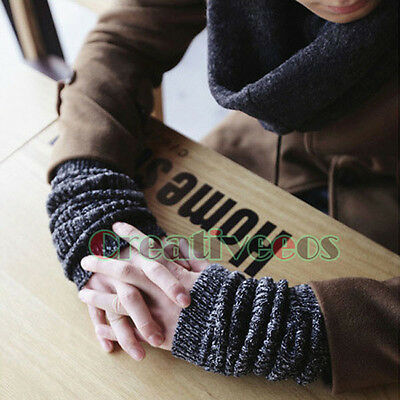 Men's Winter Warm Fashion Knit Mixed Color Long Arm Warmers Gloves Fingerless