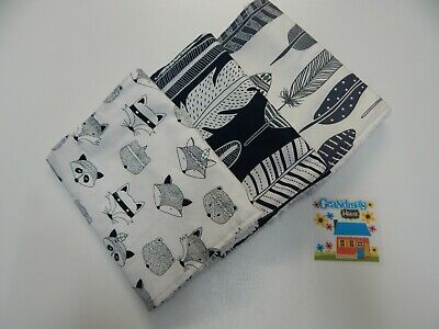 Burp Cloths Tribal Feathers Deer Badgers Stag x 3 Toweling Backed - Great Gift!