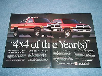 """1995 Dodge Ram Pickup Vintage 2pg Ad """"4x4 of the Year(s)"""""""