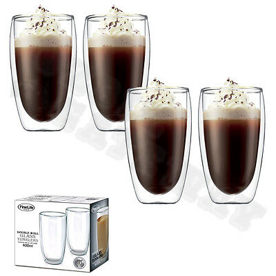 Set of 4 Double Wall Glass Tumbler 400ml of Drinking Glasses Water