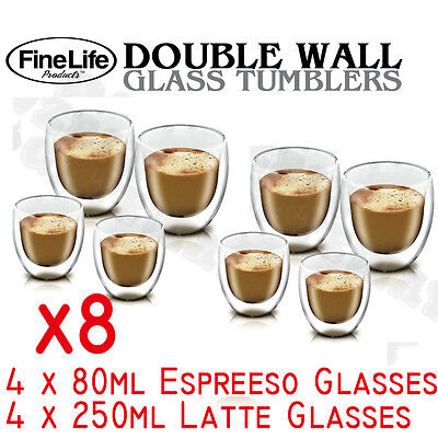 Set of 8 Double Wall Glass Tumbler Drinking Glasses coffee tea Water clear glass