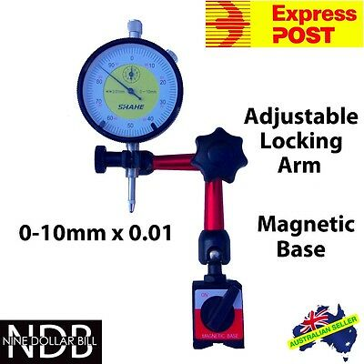 Dial Indicator Gauge 0-10mm with Magnetic Base FAST POST & WARRANTY