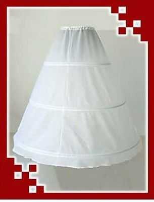 White 3-Hoops 1-Layer Petticoat Wedding Dress Crinoline Petticoat Skirt Slip