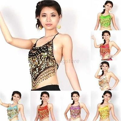 Women Sequins Beads Bells Top Gold Coins Belly Dance Costume Dancing Clothes Bra