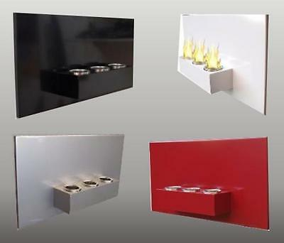 Bio Ethanol Gel Fireplace RABEA Steel Wall Fire Place Red White Black or Silver