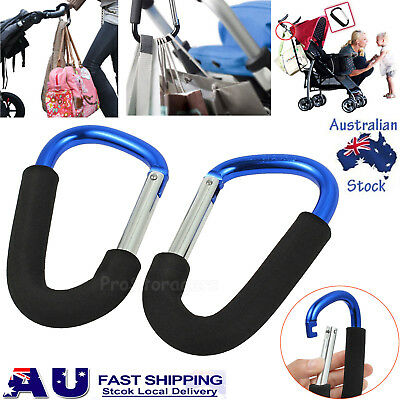 2pcs PRAM HOOK Baby Stroller Shopping Bag Clip Carrier Carabiner Large Hangers