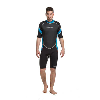 Mens Surfing Wetsuit Neoprene Diving Spring Wetsuits - Black Blue - [ADS-407]
