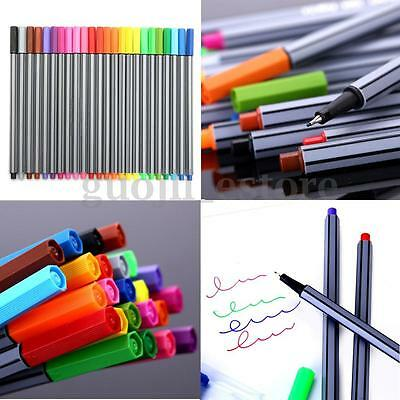 24 Colors Watercolor Painting Sketch Pens Art Drawing Point Tip Brush Marker