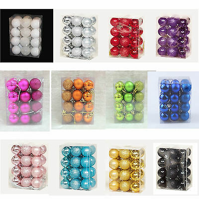 Christmas Tree Decoration 24 Pack 30mm Mini Shatterproof Baubles - Many Colours