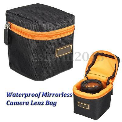 Waterproof Nylon DSLR Camera Lens Mirrorless Padded Protector Carry Bag Pouch