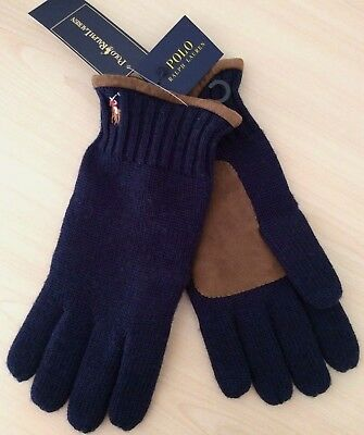 Polo Ralph Lauren Hunter Navy Merino Wool Gloves With Suede Trims Bnwt