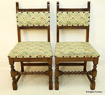 2 Old Charm Dining Chairs Studded Upholstery, Light Oak FREE Nationwide Delivery