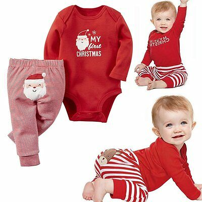 Newborn Baby Boy Girls Christmas Clothes Tops Romper Long Pants 2PCS Outfits Set