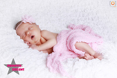 Princess-Dreams 245 Baby Mädchen Haarband Stirnband Blume zart rosa Fotoshooting