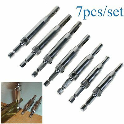 7PCS Self Centering HSS Door Cabinet Hinge Drill Bits Set Pilot Hole Saw Tool AU