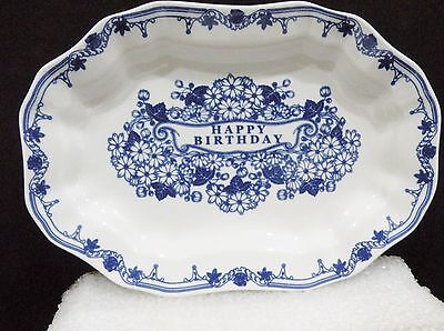 "Spode Blue Room Collection ""Happy Birthday"" oval Dish vgc (6 5/8"" x 4 1/2"") 2007"