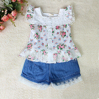 Floral Top and Girls Denim Glitter Shorts Set, 2PCS, 1-2 yrs. FREE UK shipping!