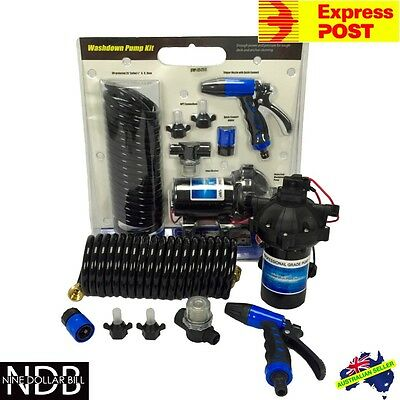 12v Washdown Pump Kit 20L/min 70 PSI Deck Wash Caravan Boat EXPRESS & WARRANTY