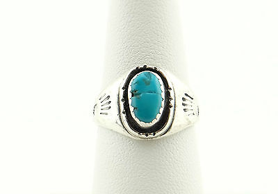 Vtg Sterling Silver Turquoise Navajo Ring sz 7.5
