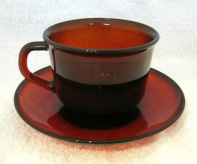 Vintage Arcoroc France Classique Ruby RED Tea Cup & Saucer Coffee Excel Shape SH