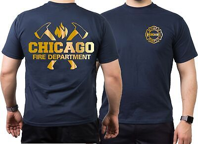 T-Shirt navy, Chicago Fire Dept. mit Äxten und Standard-Emblem, gold Edition
