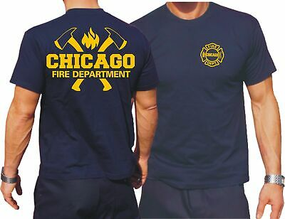 T-Shirt navy, Chicago Fire Dept. mit Äxten und Standard-Emblem in gelb