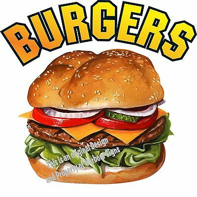 "Burgers Decal 14"" Hamburgers Restaurant Concession Food Truck Vinyl Sticker"