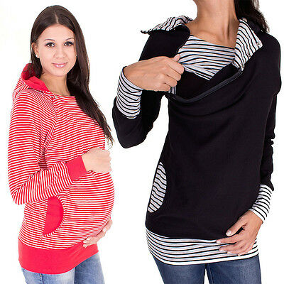 Maternity Breastfeeding Shirt Blouse Pregnant Clothes Nursing Tops Hoodie Blouse