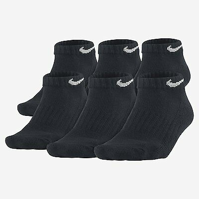 $38 NIKE Mens 6 PAIRS PACK Athletic LOW-CUT SOCKS Black Cushion Cotton SHOE 8-12