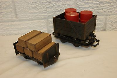 16mm Narrow Gauge SM32 Scratchbuilt Flat Wagon with Wood Load for LIVE STEAM