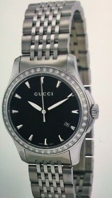 ba99b4a858b New Ladies Authentic womens Gucci Timeless Ya126507 factory Diamond Black  Watch