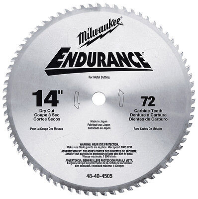 "14"" x 72 Tooth Dry Cut Circular Saw Blade Milwaukee 48-40-4505 New"