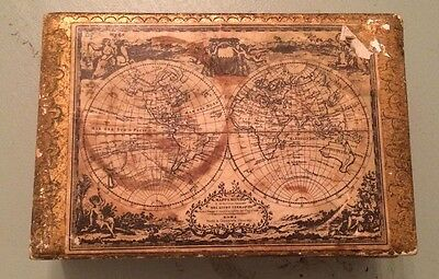 Vintage Made In Italy Toleware Box Tray Old Work Map Jewelry Gold Gilt