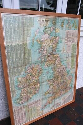 Richardsons New Chart Of British Isles Map VERY LARGE & WOOD FRAMED UNDER GLASS