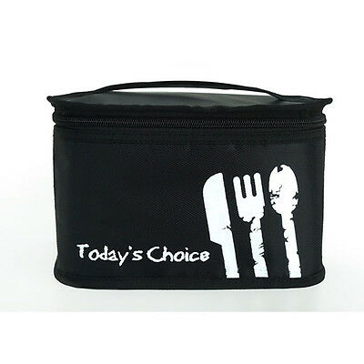 Black Thermal Insulated Lunch Bag Lunch Box Cooler Tote Bag Travel Handbag