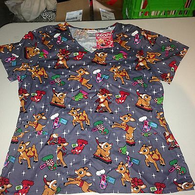 c8f11a608a3 Rudolph The Red Nosed Reindeer Christmas Scrubs Ladies/Womens NEW! free usa  ship