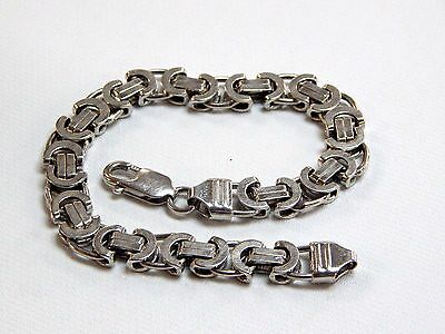 Italy Sterling Silver Men's Detailed Fancy Circle And Bar Link Bracelet