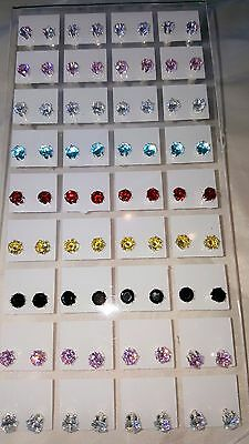 Joblot of 36 Pairs 5mm Cubic Zirconia mixed colour Round stud Earrings wholesale