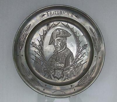 Antique German Pewter Plate Portrait Frederick The Great Of Prussia With Sword
