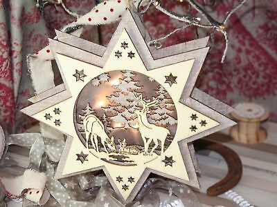Wooden Hanging Star with LED, Christmas Decoration, Xmas Decoration,
