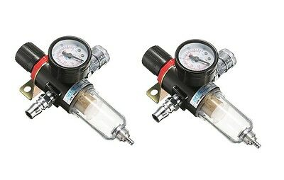 "2 x AFR-2000 1/4"" Air Compressor Filter Water Separator Trap Tools Kit With Regu"