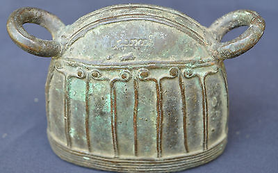Antique Burmese Bronze Cattle Water Buffalo Mandalay Bell With Script Myanmar