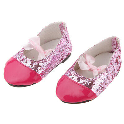 Pink Sequins Bow Flat Shoes FOR 18 inch AMERICAN GIRL AG OUR GENERATION Doll