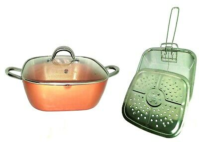 Copper Square Chef Pan,Glass Lid,Fry Basket,Steam Rack,Induction Base 4piece set