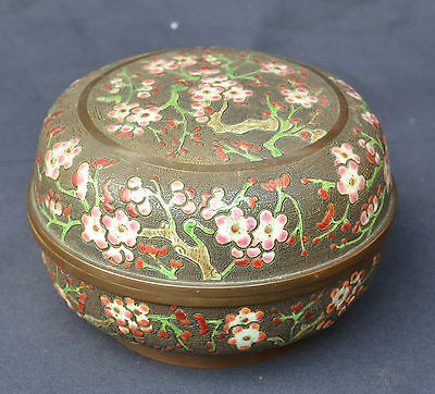 Rare Large Heavy Unusual Antique Chinese Cloisonne Enamel On Bronze Lidded Box