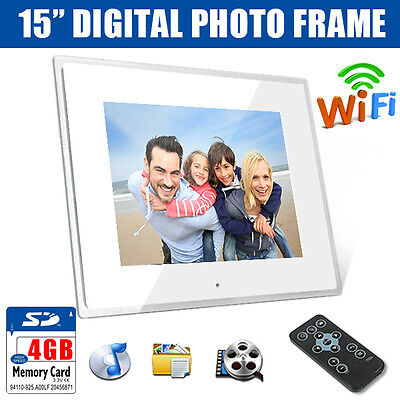 """New 15"""" White WiFi Android Digital Photo Frame MP3 AVI MPEG Audio Video + 4GB SD"""