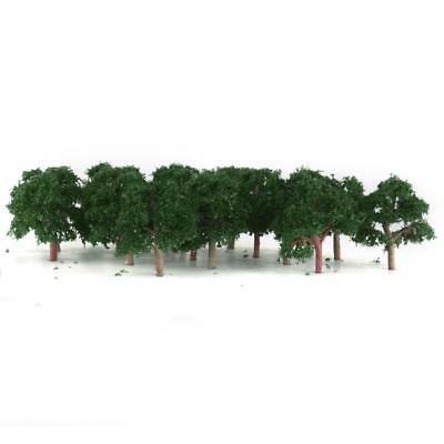 25pc Dark Green Trees Model Train Street Wargame Diorama Scenery 1:300 Z 4CM