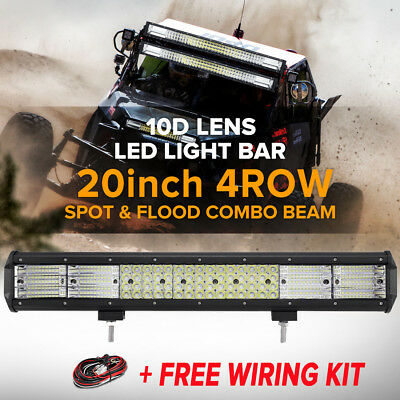 "23INCH 648W PHILIPS LED Work Light Bar + 4"" 30W Spot Flood Driving Truck 22/32"""