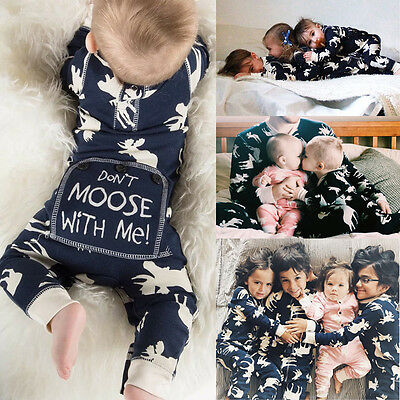 Infant Baby Girl Boy Moose PP Romper Jumpsuit Playsuit Christmas Pajamas Outfits